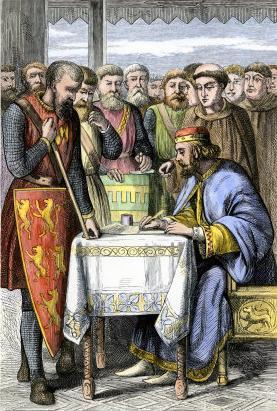 Houtsnede (19e eeuw) van de ondertekening door King John (koning Jan).
