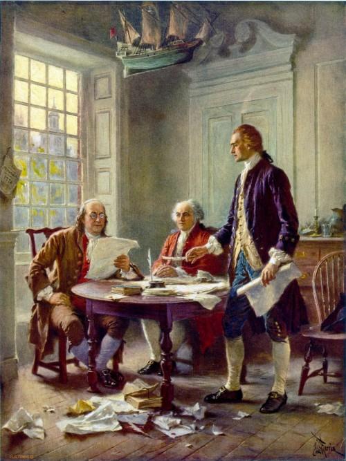 """""""The Founding Fathers (grondleggers van de USA)  Franklin, Adams, en  Jefferson werken aan de onafhankelijkheidsverklaring"""