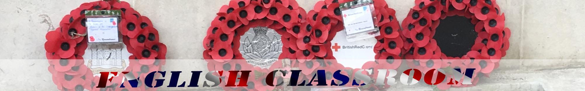 red poppies wreath header english classroom