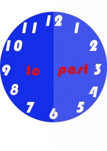 klok met de TO en PAST voor klokkijken in het Engels