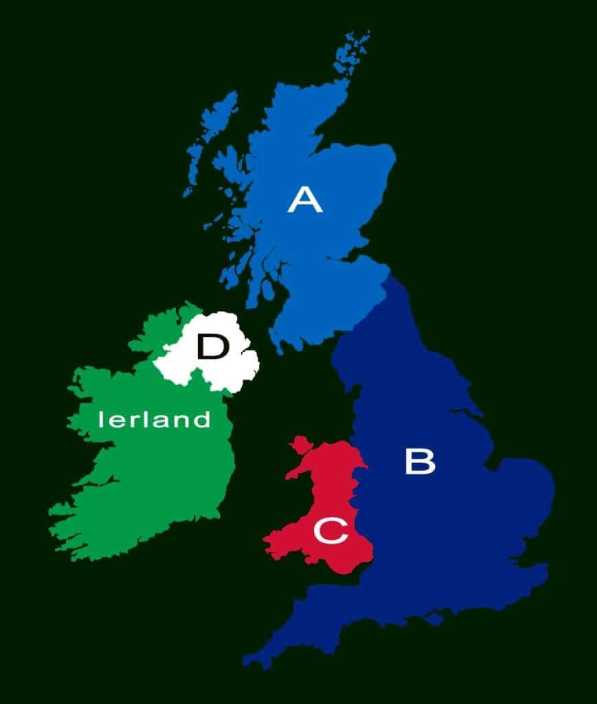 kaart van de UK waarop de vier naties moeten worden aangewezen - vmbo quiz Engels Klaslokaal